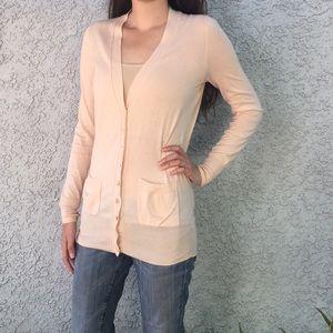 J Crew Pink Thin Knit Layer Cardigan Sweater